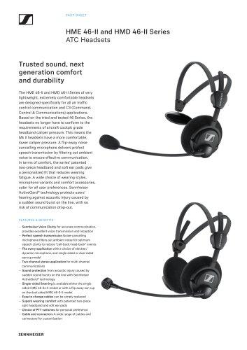 HME 46-II and HMD 46-II Series ATC Headsets