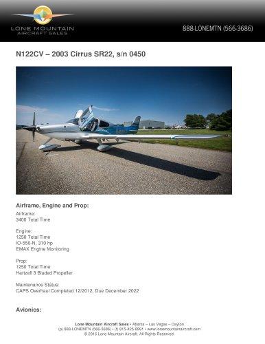 N122CV – 2003 CIRRUS SR22
