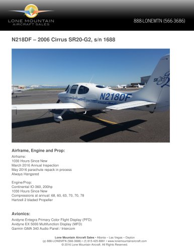 N218DF – 2006 CIRRUS SR20-G2