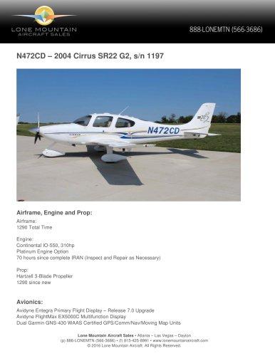 N472CD – 2004 CIRRUS SR22 G2