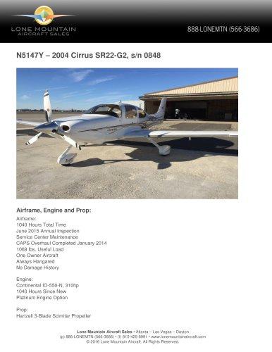 N5147Y – 2004 CIRRUS SR22-G2