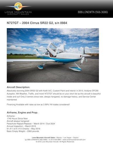 N727GT – 2004 CIRRUS SR22 G2