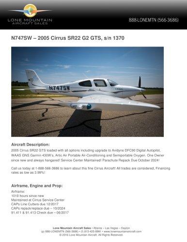 N747SW – 2005 CIRRUS SR22 G2 GTS