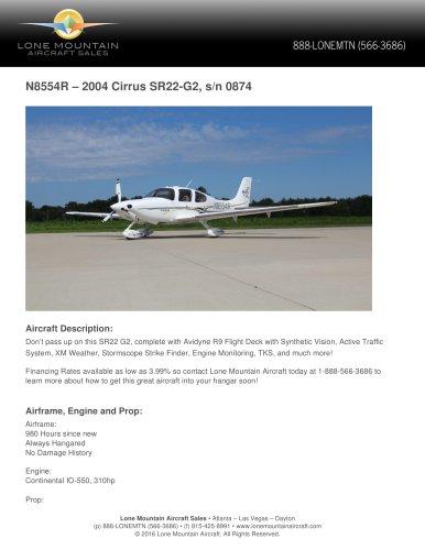 N8554R – 2004 CIRRUS SR22-G2