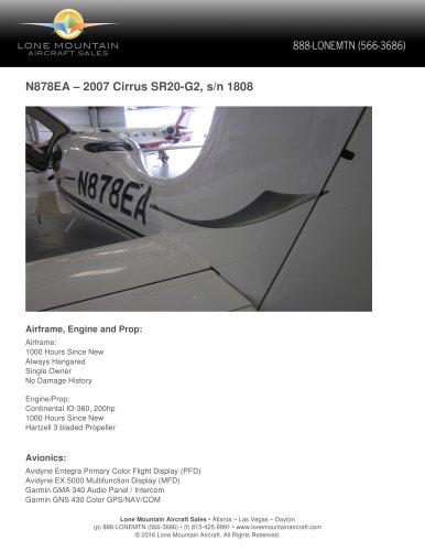 N878EA – 2007 CIRRUS SR20-G2