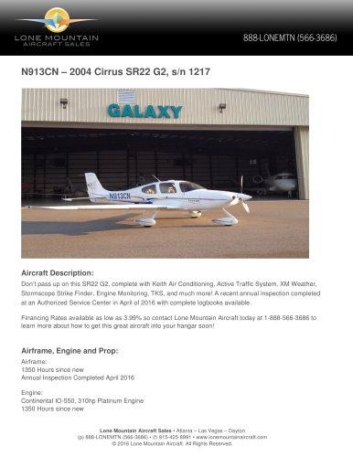 N913CN – 2004 CIRRUS SR22 G2