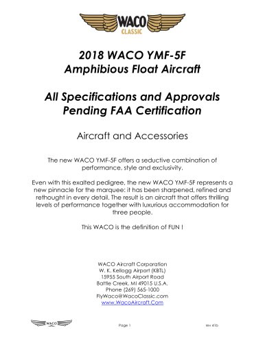 2018 WACO YMF-5F Amphibious Float Aircraft