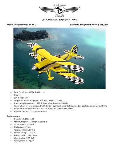 Great Lakes 2017 Aircraft specifications