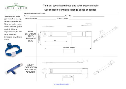 Tehnical specificati on baby and adult extension belts