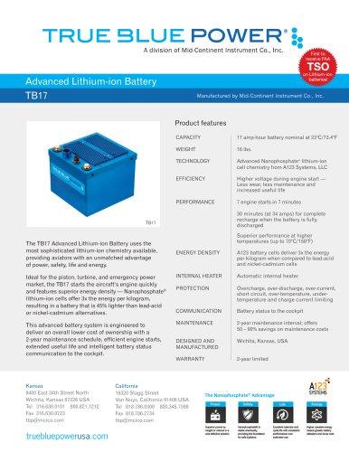 Advanced Lithium-ion Battery TB17