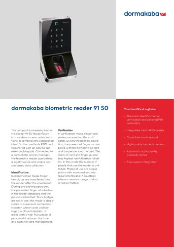 dormakaba biometric reader 91 50