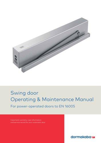 Swing door Operating & Maintenance Manual