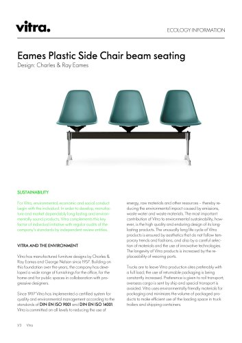 Ecology information (Eames Plastic Side Chair beam seating)