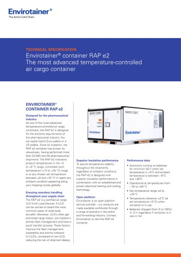 Envirotainer® container RAP e2 The most advanced temperature-controlled air cargo container