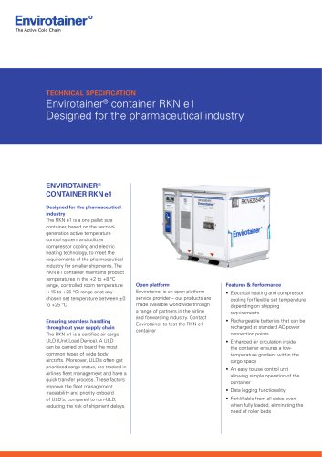 Envirotainer® container RKN e1 Designed for the pharmaceutical industry