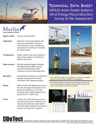 Data Sheet - MERLIN Avian Radar Systems - DETECT GLOBAL LTD - PDF