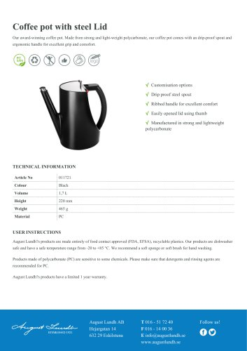 Coffee pot with steel Lid