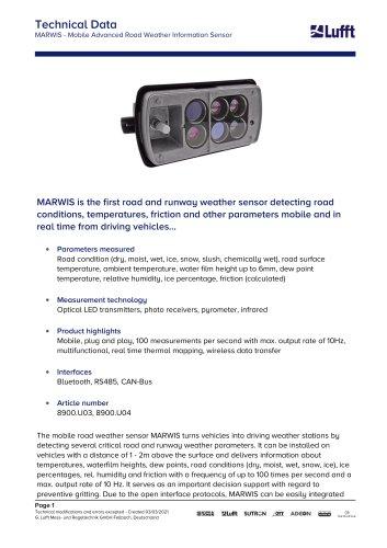 MARWIS - Mobile Advanced Road Weather Information Sensor