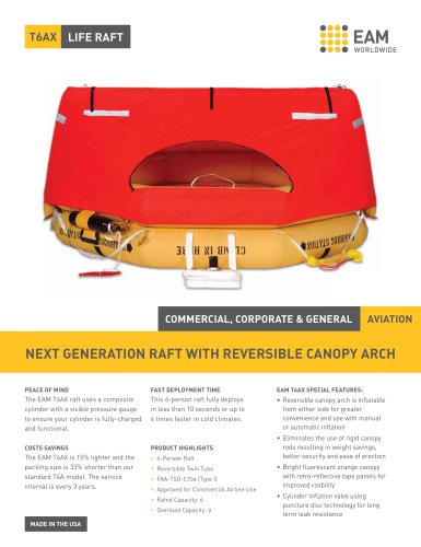 EAM T6AX Life Raft Product Sheet