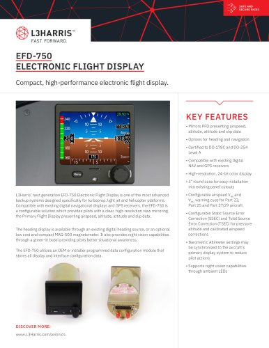 EFD-750 ELECTRONIC FLIGHT DISPLAY