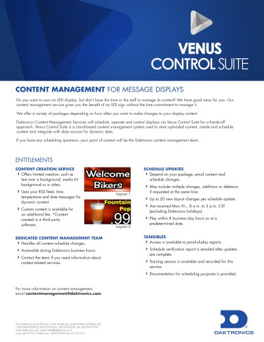 Venus Control Suite Content Management for Message Displays