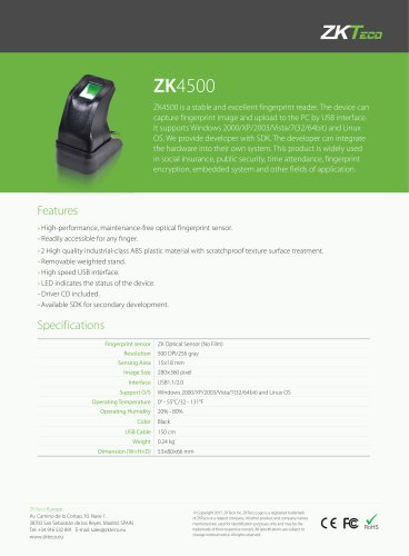 ZK4500 - ZKTeco - PDF Catalogs | Technical Documentation