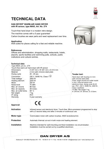 DAN DRYER® WARM-AIR HAND DRYER No. 274