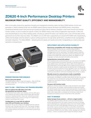ZD620 4-Inch Performance Desktop Printers