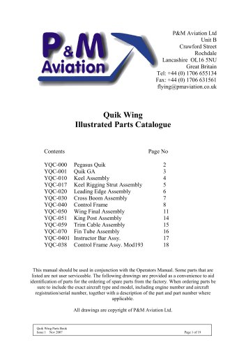 Quik Wing Illustrated Parts Catalogue