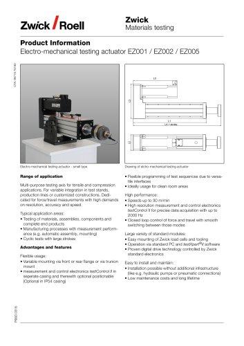 Electro-mechanical testing actuator EZ001 / EZ002 / EZ005