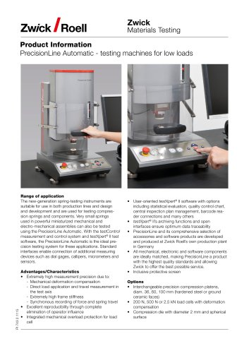 PrecisionLine Automatic  testing machines for low loads
