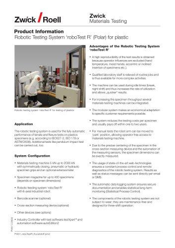 ROBO TEST R ROBOTIC TESTING SYSTEM FOR PLASTICS