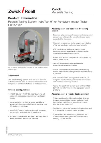 Robotic Testing System 'roboTest H' for Pendulum Impact Tester HIT25/50P