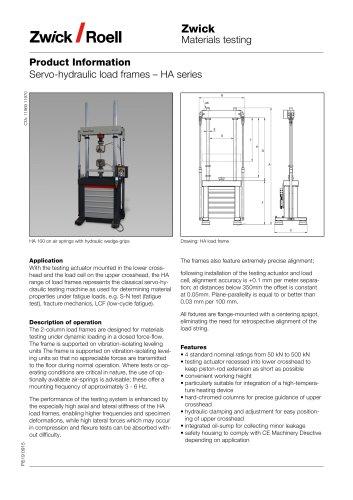 Servo-hydraulic load frames – HA series