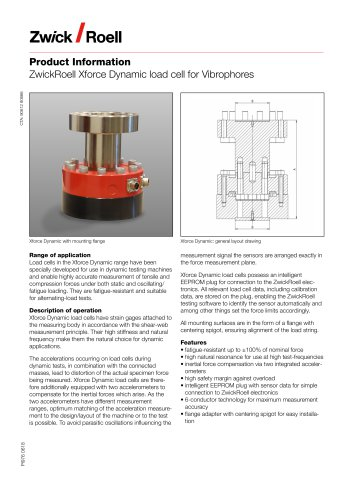 ZwickRoell Xforce Dynamic load cell for Vibrophores