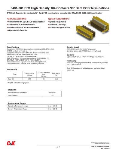 3401-001 D*M High Density 104 Contacts 90° Bent PCB Terminations