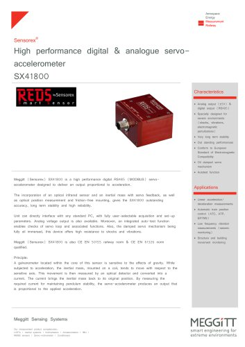 High performance digital & analogue servoaccelerometer SX41800