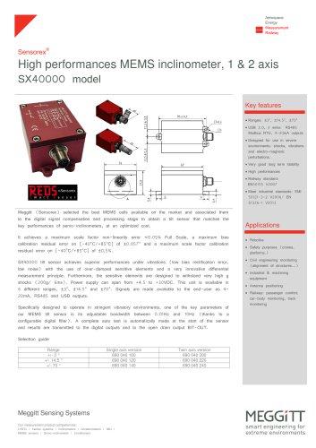 High performances MEMS inclinometer, 1 & 2 axis SX40000 model