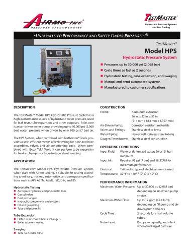 Model HPS Hydrostatic Pressure System