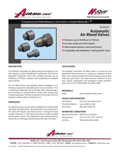 NuQuip®Automatic Air Bleed Valves