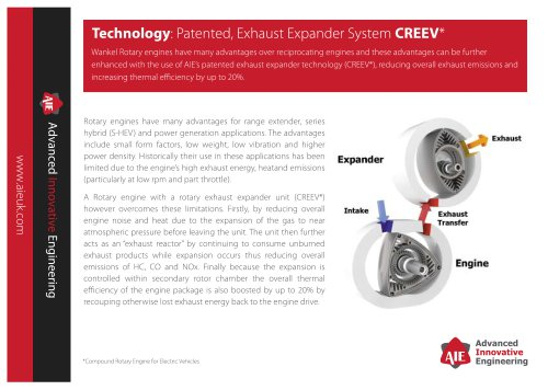 Technology: Patented, Exhaust Expander System CREEV