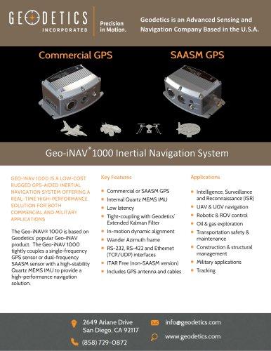 Geo-iNAV® 1000 Inertial Navigation System - Geodetics, Inc