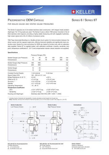 Piezoresistive OEM Capsule Series 6 / Series 6T