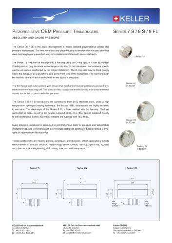 Piezoresistive OEM Pressure Transducers Series 7 S / 9 S / 9 FL