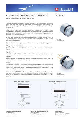 Piezoresistive OEM Pressure Transducers Series 8