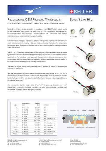 Series 3 L to 10 L Piezoresistive OEM Pressure Transducers