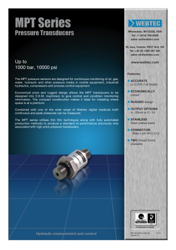 MPT Series Pressure Transducers