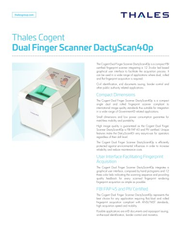 Thales Cogent Dual Finger Scanner DactyScan40p