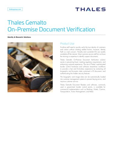 Thales Gemalto Document Verification in Branch
