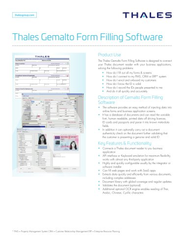 Thales Gemalto Form Filling Software